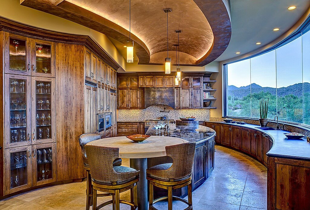 Curved Kitchen Design With Arched Ceiling Rustic Cabinets