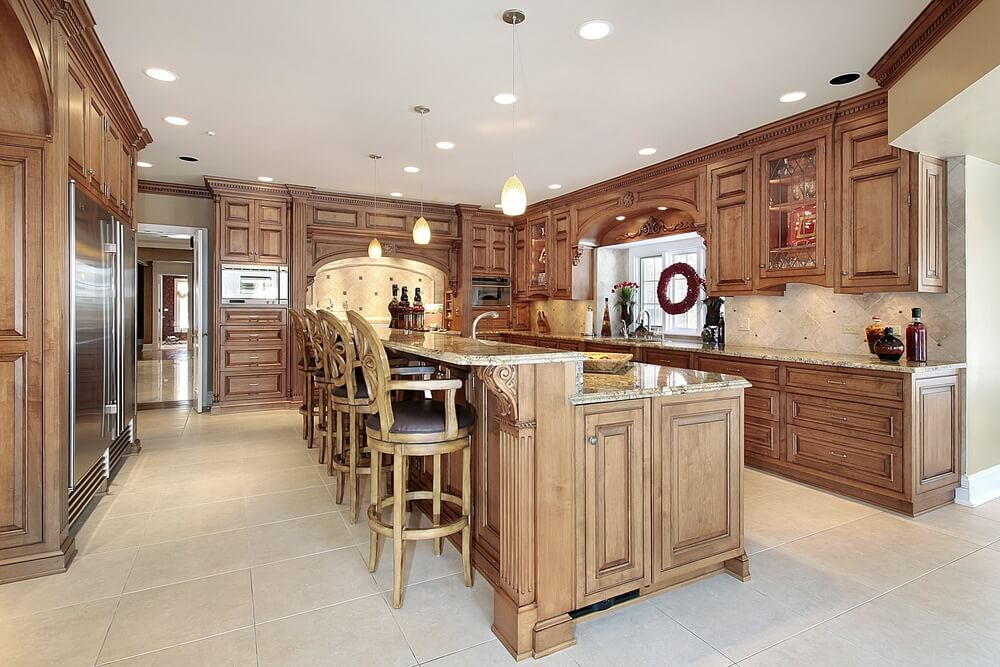 All Wood Kitchen With Large 2 Tiered Kitchen Island With