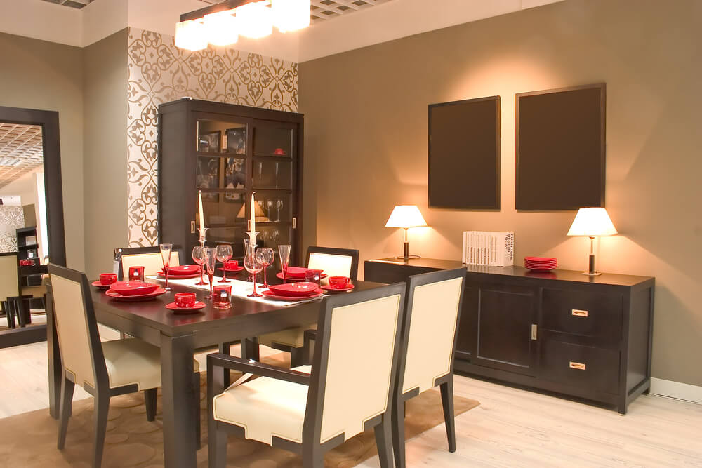 Asian inspired dining room design with matching dark wood for Matching living room and dining room furniture