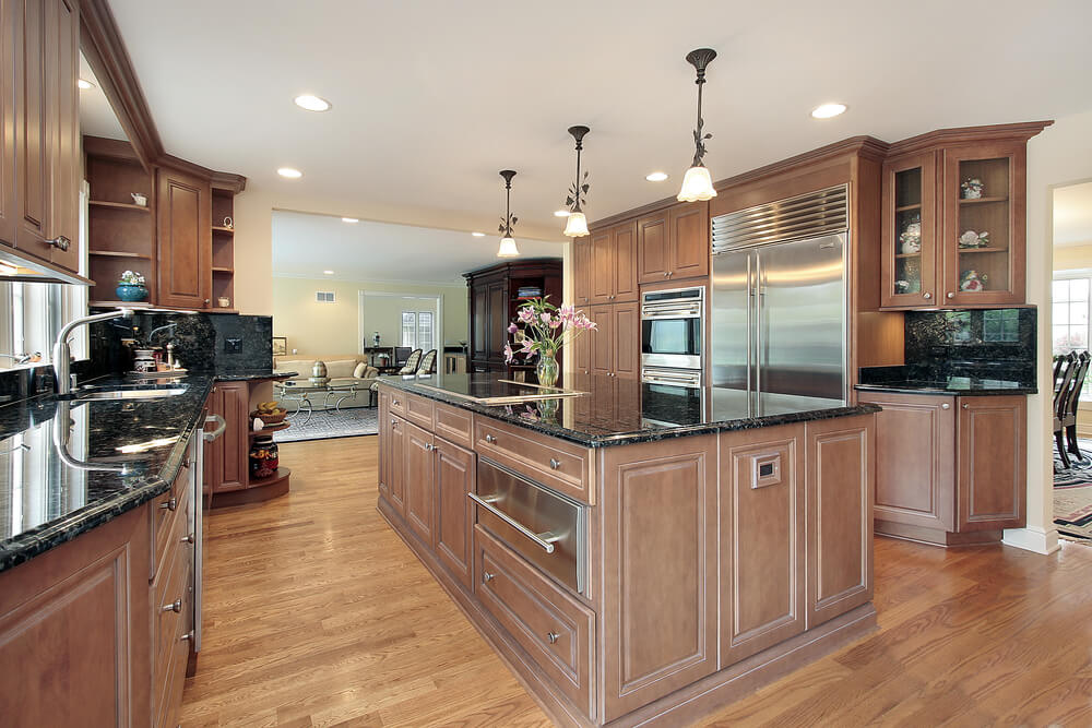 All Wood Kitchen With Massive Matching Island