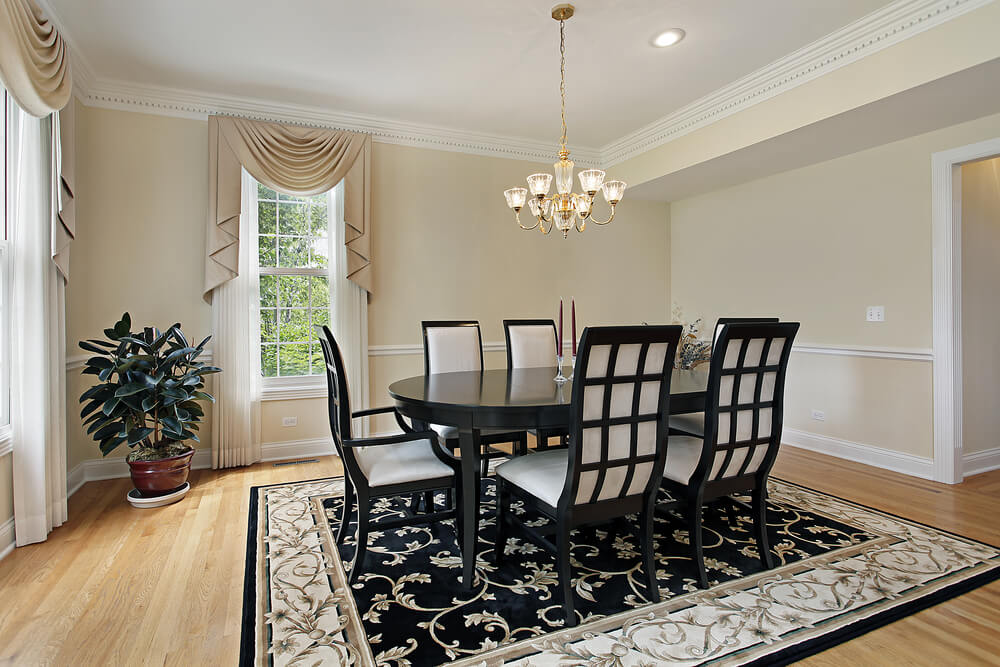 Formal dining room with very light beige walls white for Light wood formal dining room sets