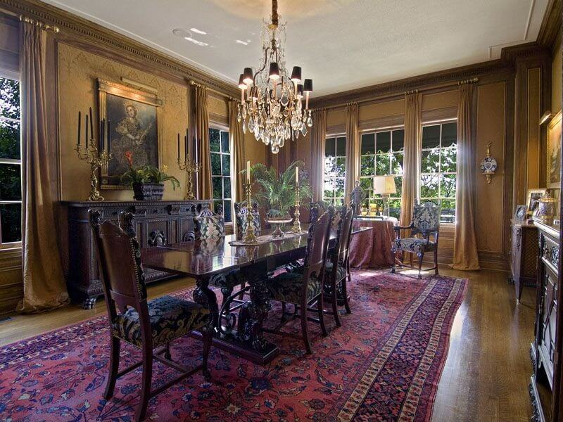 Luxury Color Custom Dining Room Furniture Spectacularly Formal Dining Room With A Large Painting Chandelier Long Anti