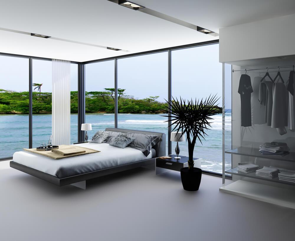 61 bright cheery white bedroom designs for Modern bedroom window design