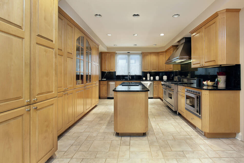 Natural Wood Kitchen With Matching Island