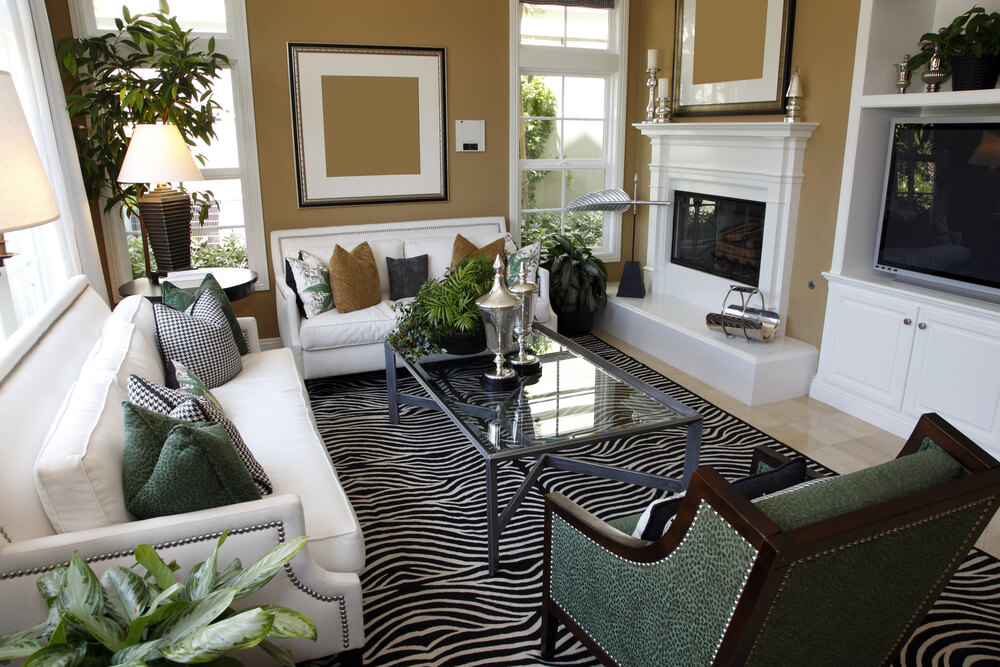 Living room design with two white sofas taupe walls and zebra area rug - Interior design small spaces ideas gallery ...