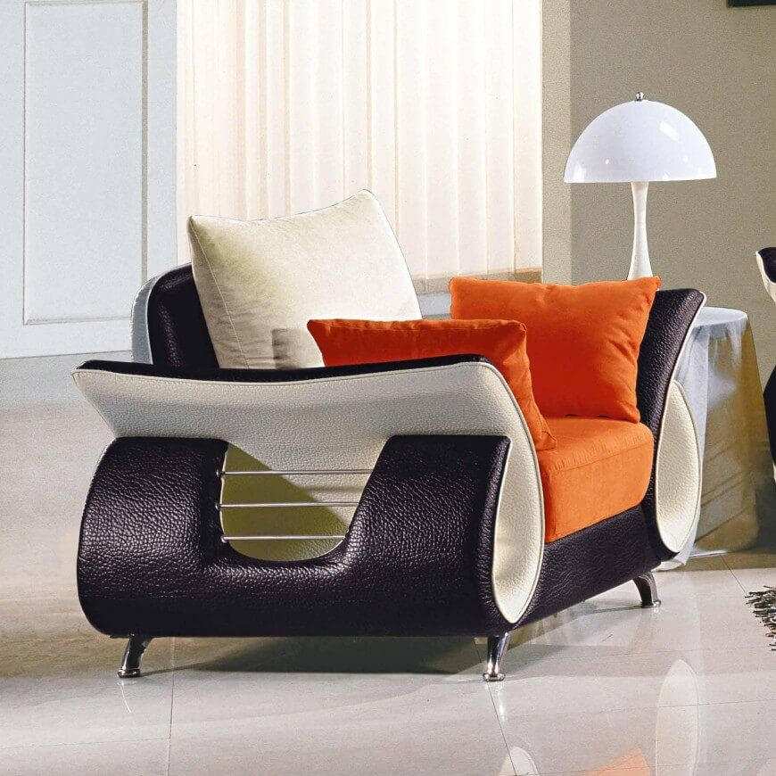 Perhaps you're looking for something more modern. This colorful, sleek chair is just the thing for modern homes, featuring black and white leader, a unique silhouette, and plenty of color.