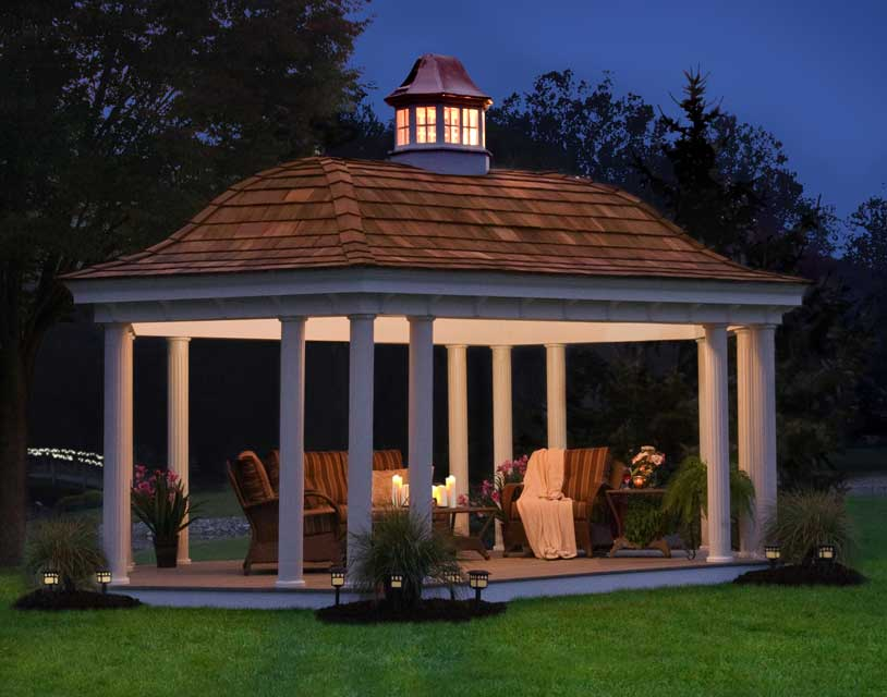 The ceiling of this gazebo is lighted, giving the area a soft glow so that you can spend the evening outside enjoying the cool breeze.