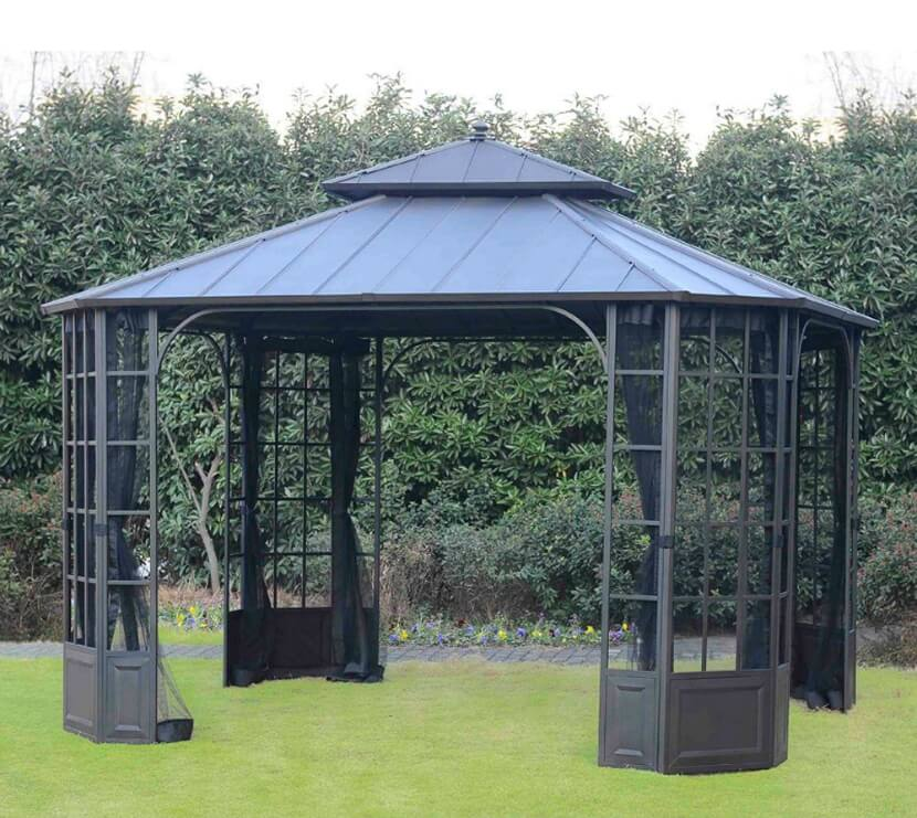 This portable aluminum gazebo has a hard top, which means it won't sag under the weight of rain should you have inclement weather. It also has screens you can close if it's a little buggy out.