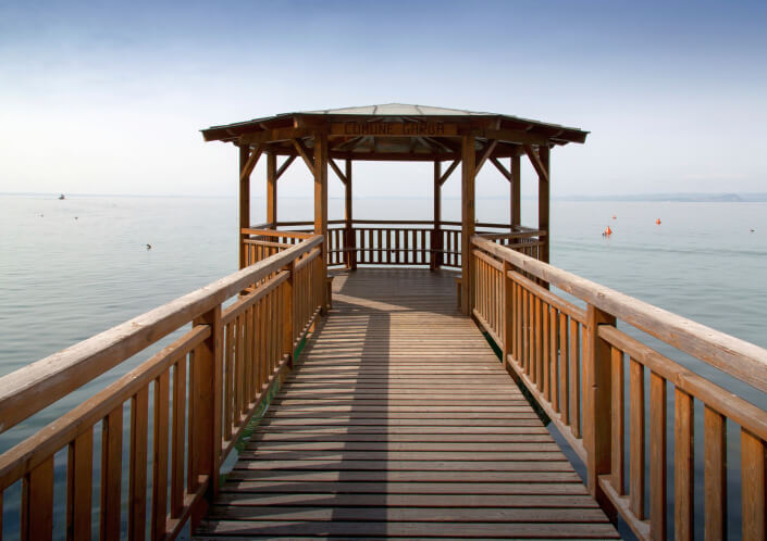 This gazebo is situated at the end of a catwalk over the water and provides an incredible view.
