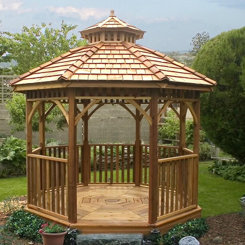The slope of this gazebo's roof is not as severe as the earlier examples, and the structure features a wooden floor, also adopting the octagonal shape.