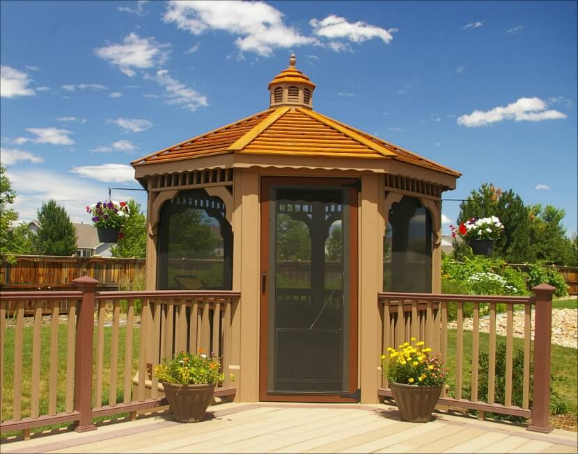 This screened gazebo is built off the corner of the main deck and patio area and is the perfect spot to escape into once the bugs start coming out.