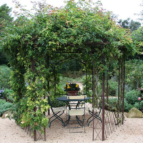 A slim metal gazebo that has been overgrown by lovely roses and vines. When in bloom the gazebo is a fragrant spot just bursting with color.