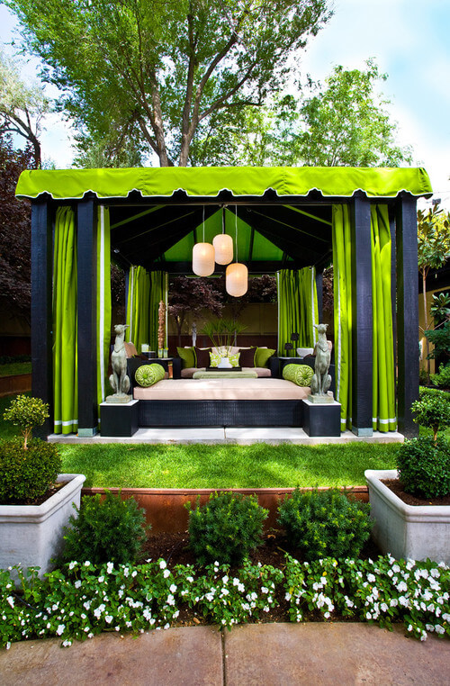 Tent gazebos come in a lot of different types, from those that look very similar to camping tents to ones like this, which resembles a luxurious cabana.