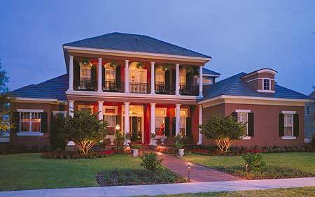 Large red brick southern colonial home design