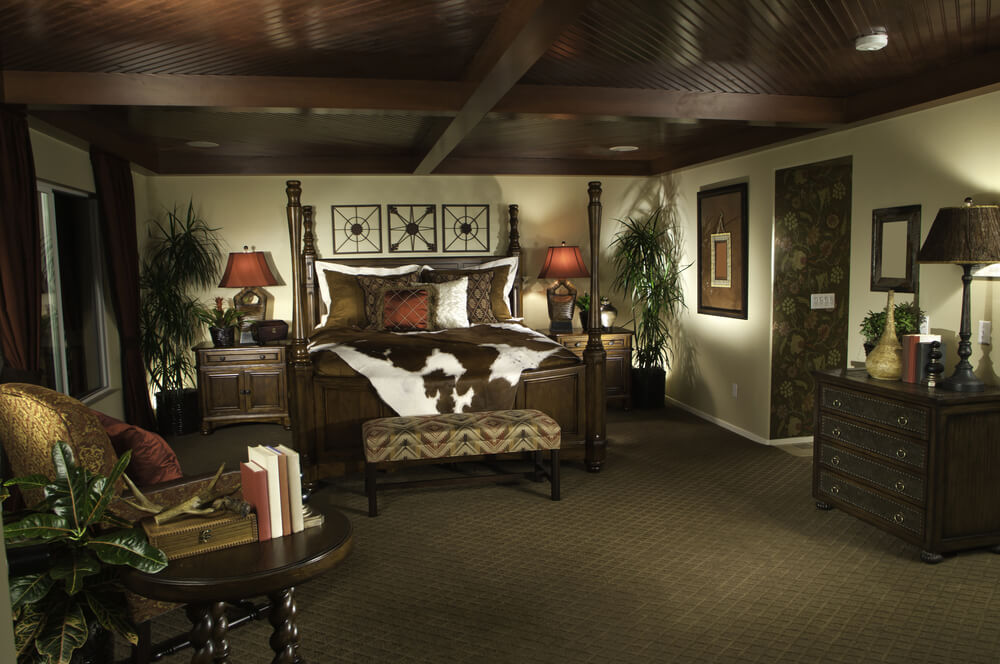 Masculine Bedroom Design With Dark Wood Ceiling Four