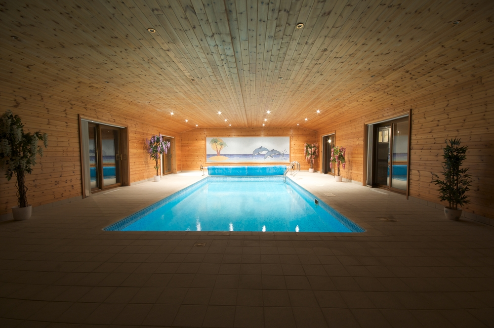 Cave-like all-wood indoor pool with beach mural.