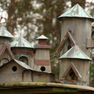 Elaborate outdoor wooden bird house design