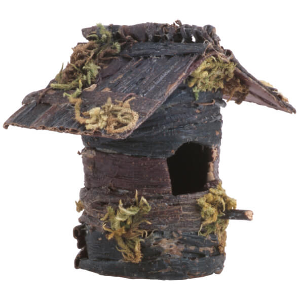 Picture of a bird house constructed entirely of tree bark.