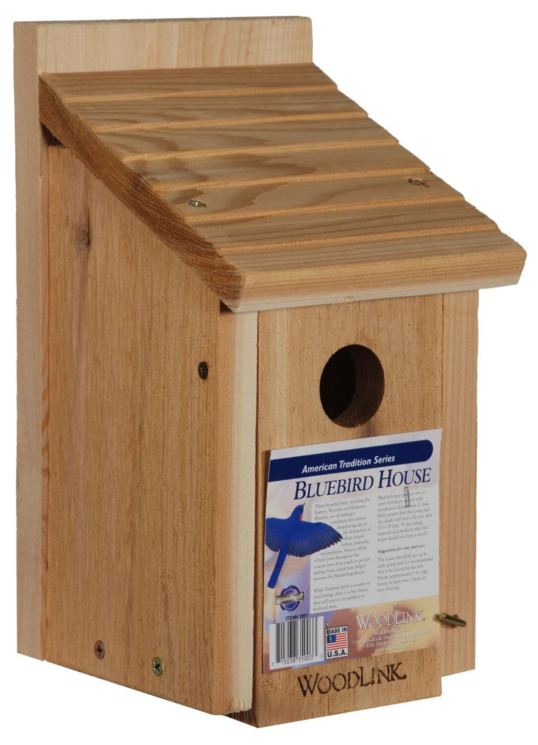 Simple bird house built with kiln-dried red cedar wood with sloped roof.