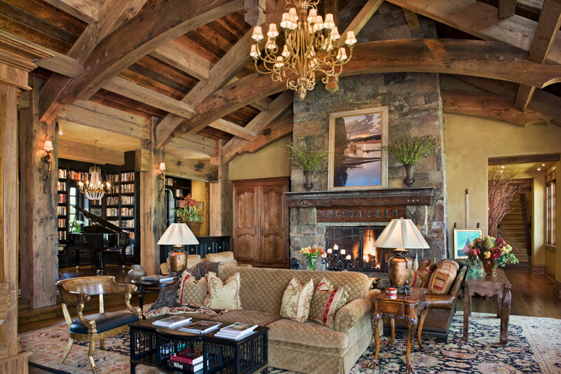 "Great room with soaring ceiling featuring exposed beams. Builder: Schlauch Bottcher Construction Interior Design: <a href=""https://www.locatiarchitects.com/"">Locati Interiors</a> Photography: <a href=""https://www.rogerwadestudio.com/"">© Roger Wade Studio</a>"