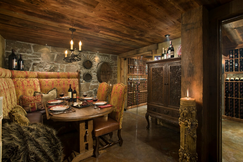 "Secondary eating area next to wine cellar. Builder: Schlauch Bottcher Construction Interior Design: <a href=""https://www.locatiarchitects.com/"">Locati Interiors</a> Photography: <a href=""https://www.rogerwadestudio.com/"">© Roger Wade Studio</a>"