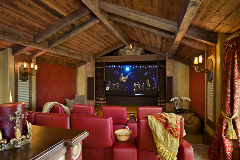 "Detailed home theatre room. Builder: Schlauch Bottcher Construction Interior Design: <a href=""https://www.locatiarchitects.com/"">Locati Interiors</a> Photography: <a href=""https://www.rogerwadestudio.com/"">© Roger Wade Studio</a>"
