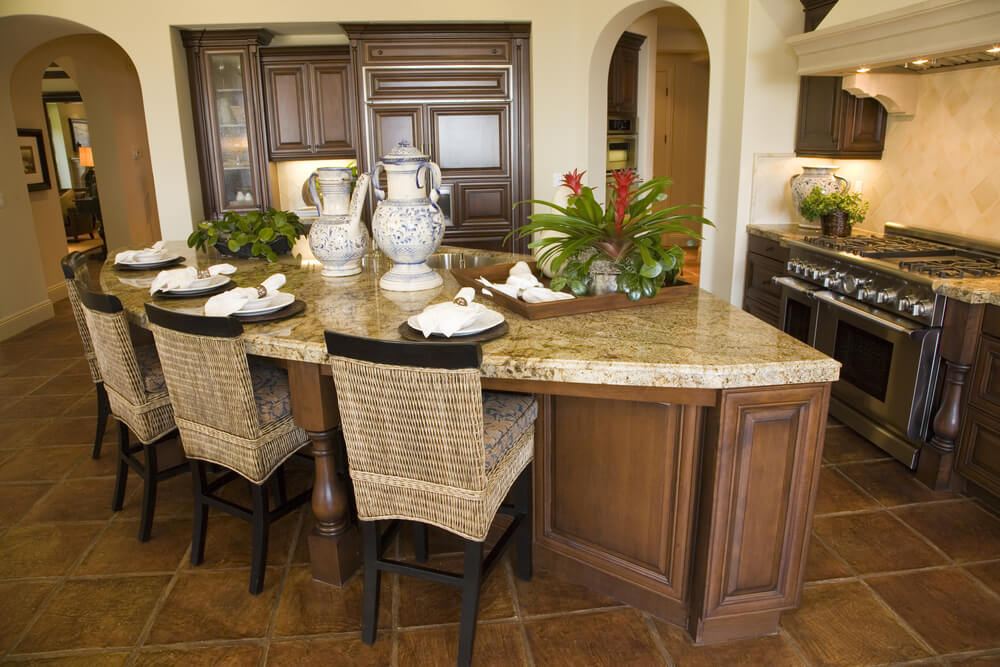 Half Octagon Shaped Kitchen Island Attached To Cabinet