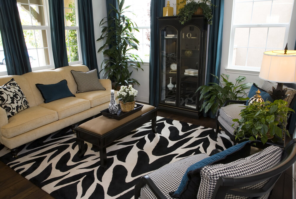 The black and white patterned rug sets the dramatic design foundation for this cozy living room design. 2 black and white armchairs match the rug offset with a beige sofa. Blue drapes and pillows add splashes of color to the room.