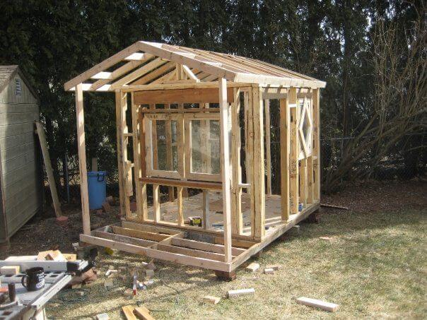 Framed playhouse with roof
