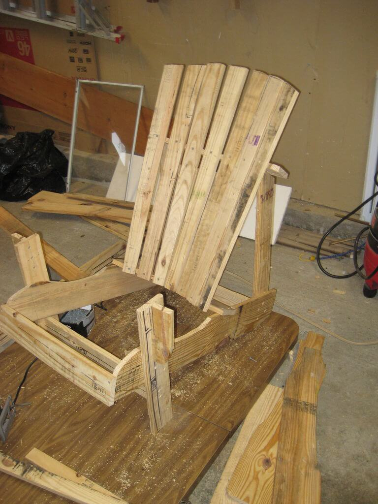 Attach the remaining back slats forming the Adirondack chair