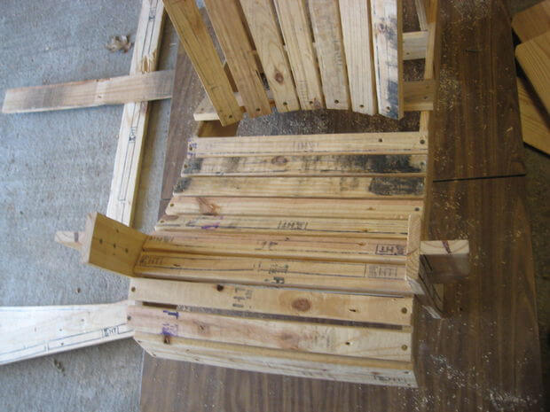 Attach all 9 seat boards from the pallet