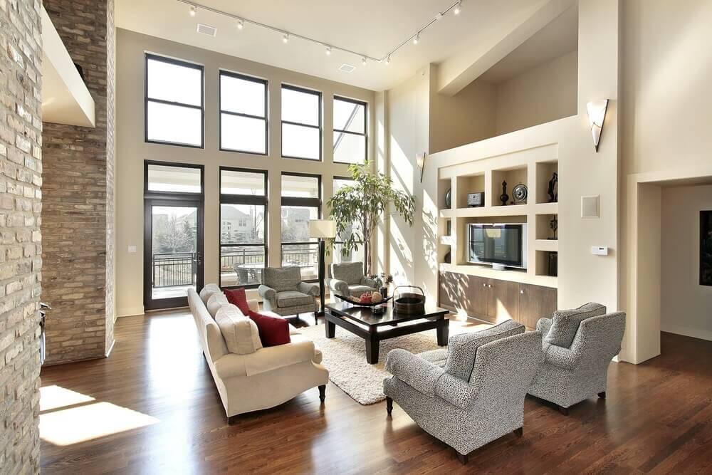 Lighting Basement Washroom Stairs: 43 Light & Spacious Living Room Interior Design Ideas