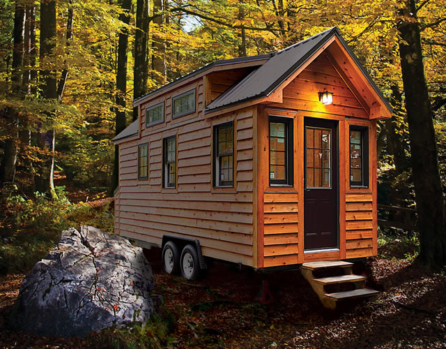 Here is an all natural wood tiny home in the woods.