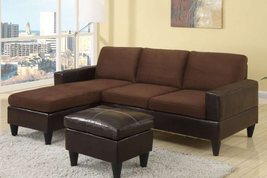Chocolate Chaise Sectional Sofa with Ottoman