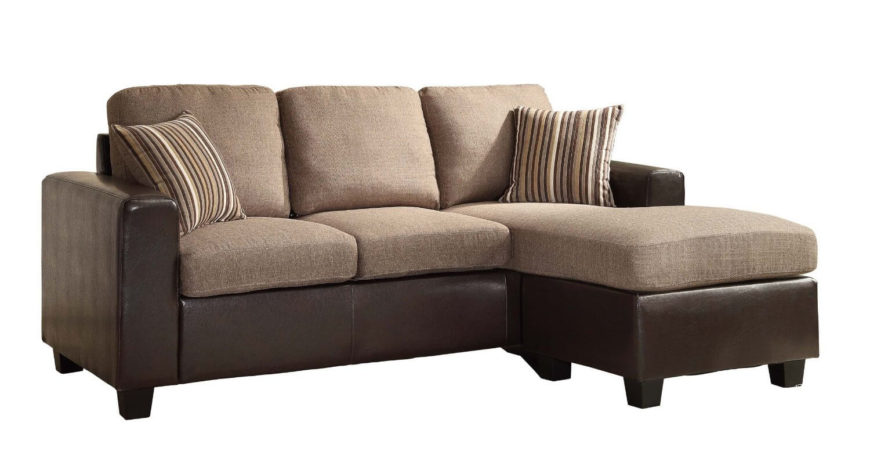 This incredible modern reversible sectional sofa has a bi-cast leather-look vinyl base with linen-like upholstered cushions. The sectional comes with 2 zippered throw pillows--simple to re-stuff should they get flat over the years of use.