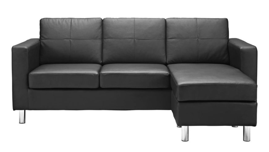 This stylish leather-look sectional sofa is perfect for small areas, boasting a reversible chaise design, aluminum legs, loose back cushions, and a no-sag sinuous spring foundation.