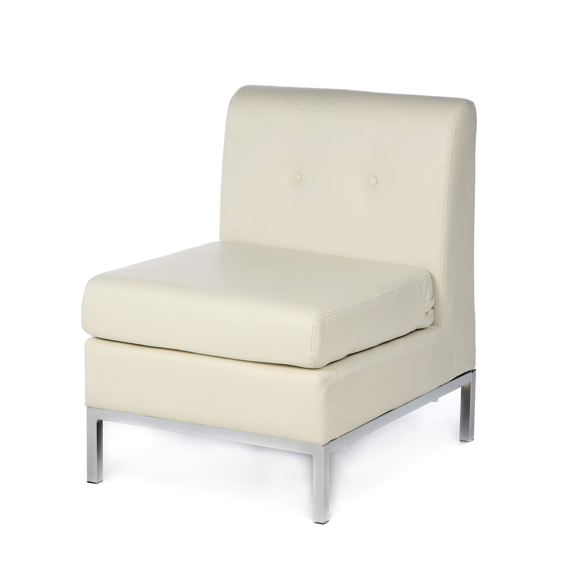 Classically simple club chair from Castleton Home in tufted white faux leather cushion over hardwood construction and chrome base.