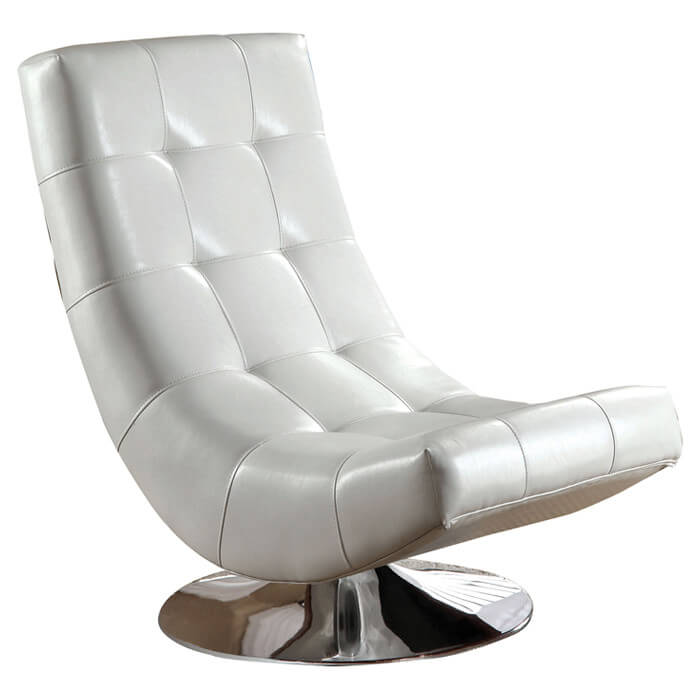 Curved, armless shape of this swivel lounge chair from Hokku Designs is crafted for extreme comfort and enduring visual appeal. The chrome plated swivel base and white faux leather surface ensure durability and timeless look.