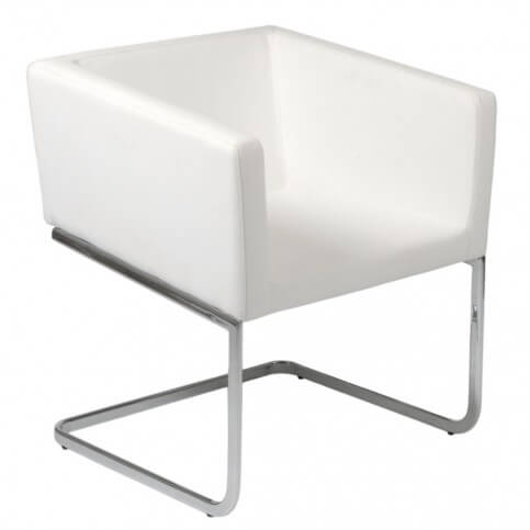 Euro Style presents this clean, minimalist leatherette accent chair in a variety of colors, with stuffed foam inner material over stainless steel base. Clean, direct design allows it to integrate with a variety of spaces.