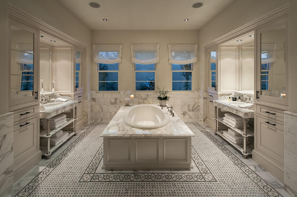 Elegance describes this primary bathroom. It's spacious and luxurious