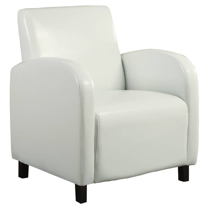 Curved arch design chair from Monarch Specialties Inc. comprised of white faux leather surfaces over sleek track arms and padded cushioning offers perfect accent chair design, unobtrusive and strong.