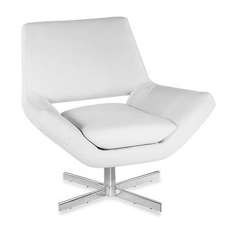 Low profile accent chair from Ave Six in white faux leather offers comfort and stability with low center of gravity design and foam stuffed back and seat cushions.