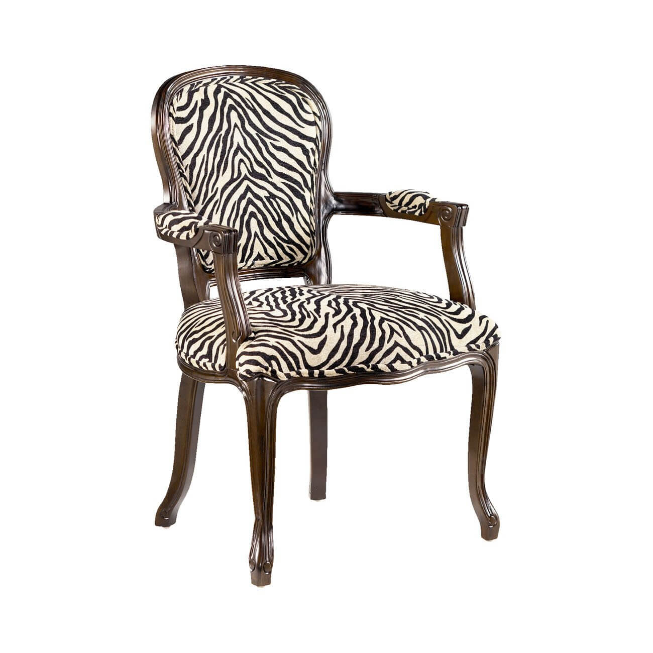 Zebra Print Armchair with Wooden Frame