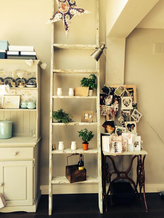leaning ladder shelf by DapperDavesWoodshop