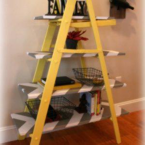 vintage yellow leaning ladder shelf
