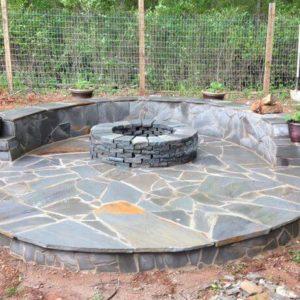 DIY tutorial build a veneer patio with firepit