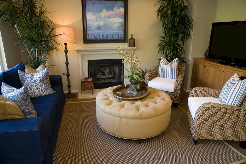 Cozy Living Room Centers Round Button Tufted And Nail Head Trimmed Ottoman Between Twin Wicker