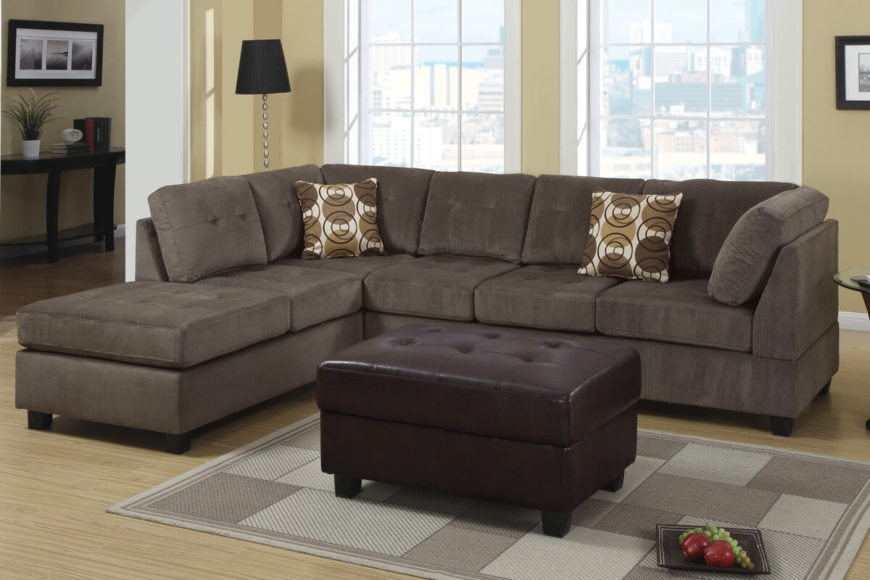 Three Piece Sectional Chaise with Ottoman