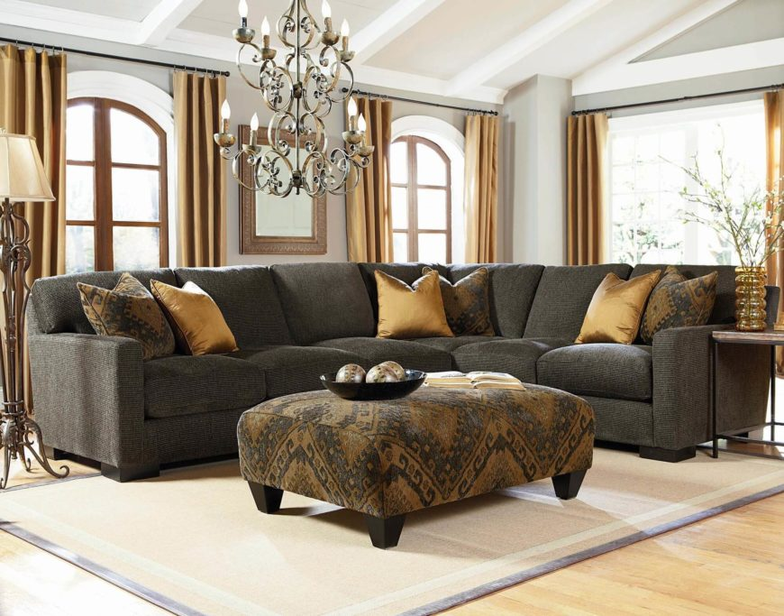 Dark Earth Tone Transitional Sectional