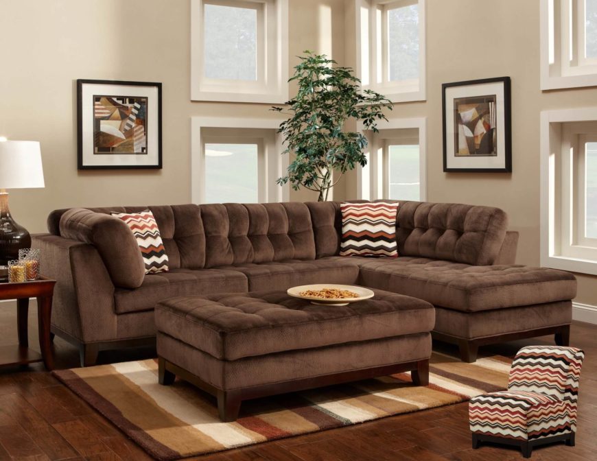Chocolate Tufted Sectional (by Newport Home Furnishings)